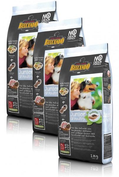 Hunde Trockenfutter - Junior Getreidefrei Geflügel 3x 1kg - Belcando Hundefutter - leichtverdaulich