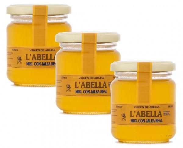 Spanischer Honig mit frischem Gelee Royal- reines Naturprodukt ohne Zuätze- Premiumqualität-3 x 250g