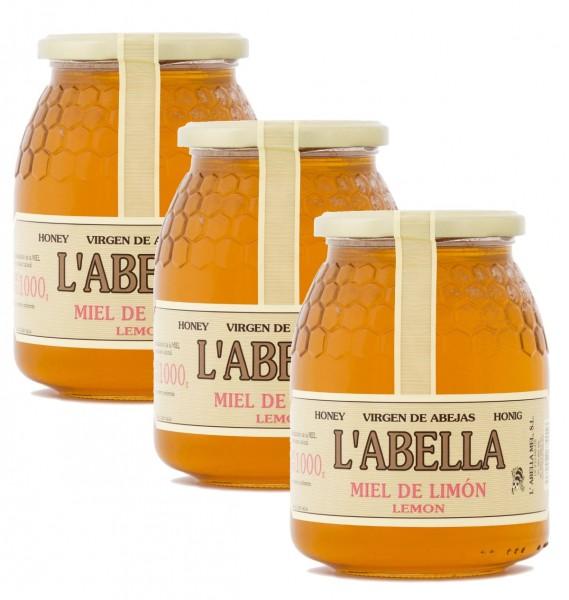 Zitronenblütenhonig aus Spanien - Zitronenhonig- Premium Qualität- 3 x 1 Kg Glas