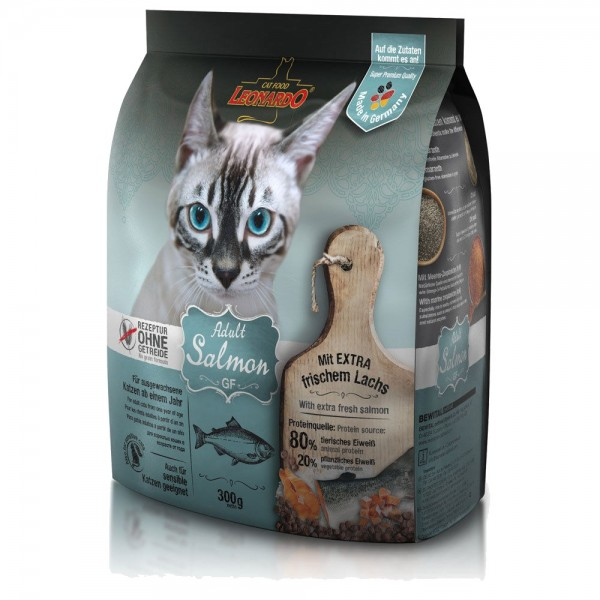 Katzen Trockenfutter - Adult GF Salmon mit Lachs 300g - Getreidefrei - Leonardo Katzenfutter