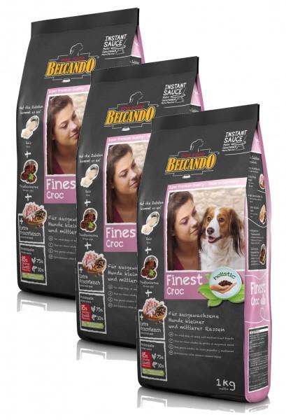 Hunde Trockenfutter - Adult Finest Croc mit Ente 3x 1kg - Getreidefrei Belcando Hundefutter