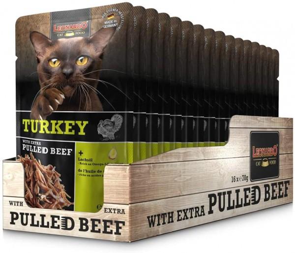 Leonardo Frischebeutel Turkey mit Fleischstreifen [Pulled Beef] 16x 70g