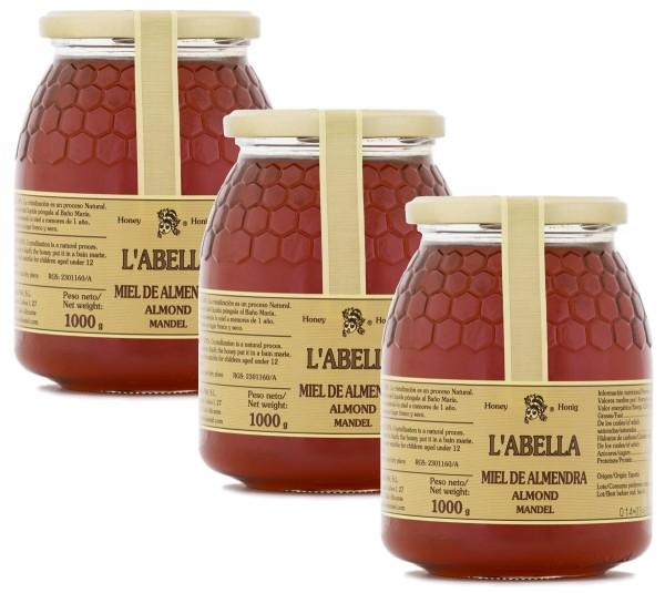 Mandelblütenhonig aus Spanien - Mandel Honig - Premium Qualität - Naturprodukt - 3 x 1 Kg Glas