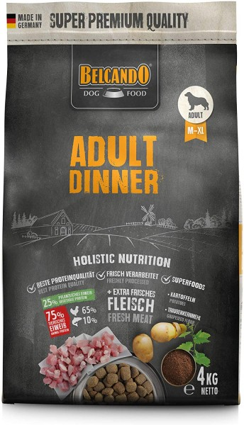 Belcando Adult Dinner Hundefutter 4kg | Trockenfutter für Hunde | Alleinfuttermittel für ausgewachsene Hunde Aller Rassen ab 1 Jahr