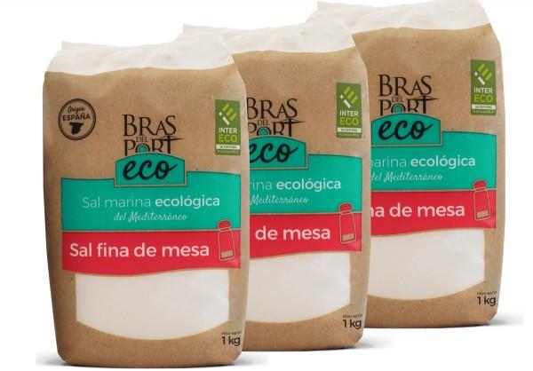 BIO Meersalz - fein - trocken- 100 % natürlich - Spanien- Naturpark Salinas Bras del Port- 3 x 1 Kg