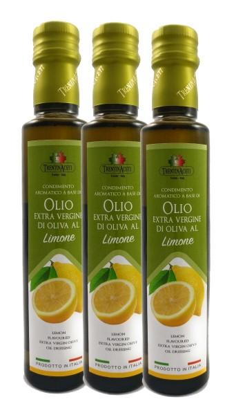 Extra Natives Olivenöl mit natürlichen Zitronenaroma aus Italien - höchste Qualität - 3x250 ml