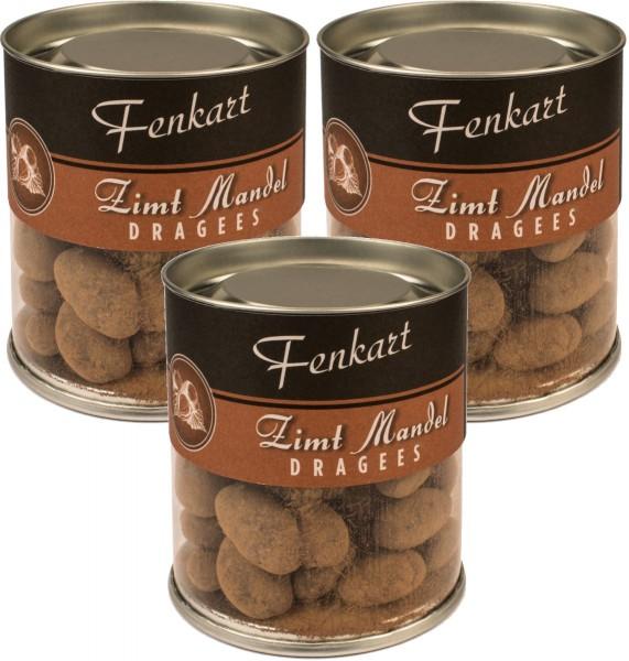 Zimtmandeln 3x 120g - Fenkart Schokoladengenuss - Schokoladen-Dragees 40%