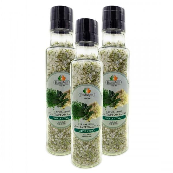 Italienische Gewürzmischung - 3x Salbei & Thymian Salz Gewürze - Salvia e Timo Salz - höchste Qualität - 260g