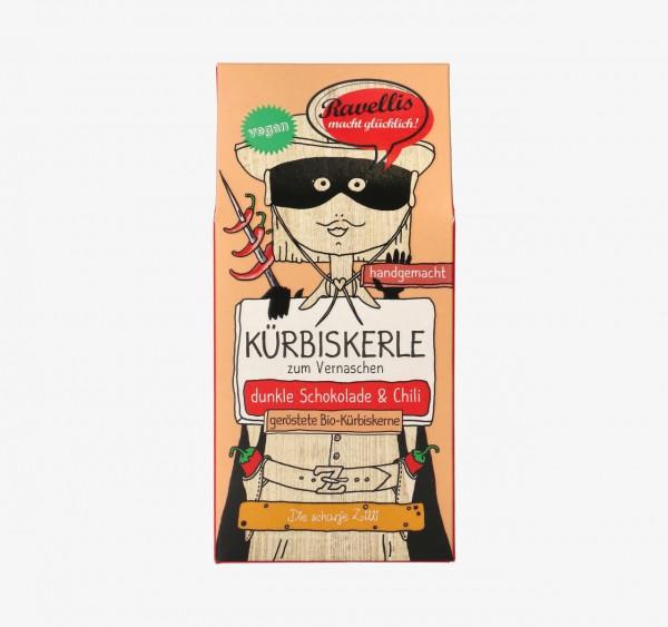 Ravellis Kürbiskerne in dunkler Schokolade mit Chili (80 g) - Bio