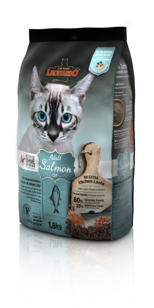 Katzen Trockenfutter - Adult GF Salmon mit Lachs 1800g - Getreidefrei - Leonardo Katzenfutter