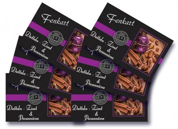 "Dattel Zimt & Pecannüsse Schokolade 6x 80g - Fenkart Schokoladengenuss - ""Bean to Bar"" Schokolade"