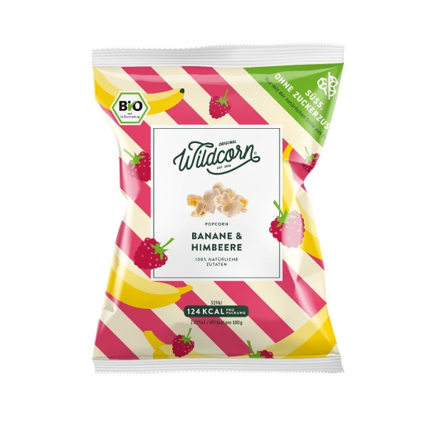 WILDCORN - Leckeres süßes Popcorn mit Banane & Himbeere 25g