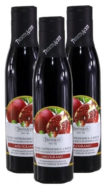 Granatapfel Aceto Balsamico Di Modena - Creme mit Aroma aus Italien - 3x300 ml