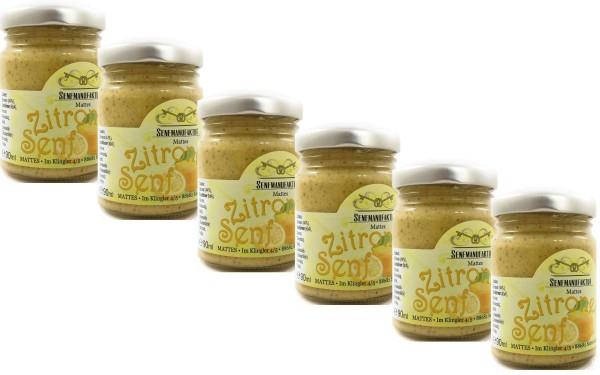 Feinster Zitronen Senf von der Senf Manufaktur 6x 90 ml - Scharfer Senf original aus Deutschland