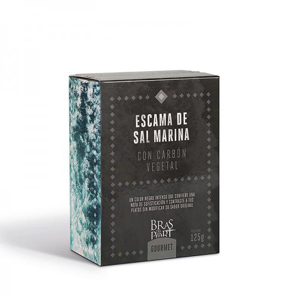 Meersalz Flocken - Flor de Sal - Fleur de Sel - aus Spanien - mit Aktivkohle- 100 % natürlich- 125 g